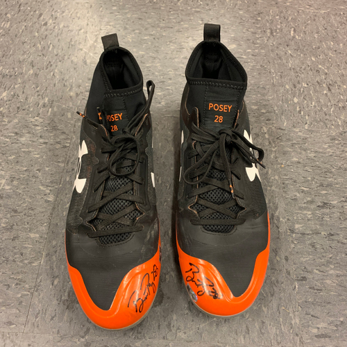 Photo of Autographed Cleats signed by #28 Buster Posey - Size 11 1/2