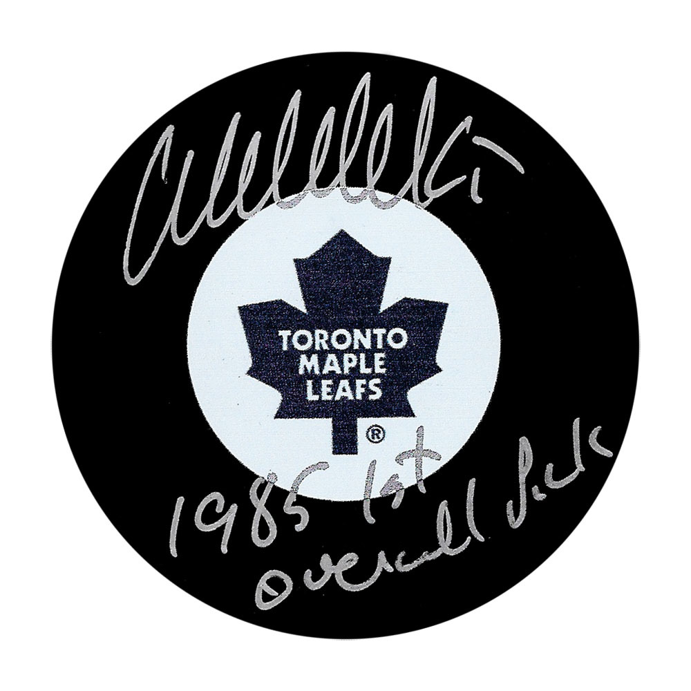 Wendel Clark Autographed Toronto Maple Leafs Puck w/1985 1ST OVERALL PICK Inscription