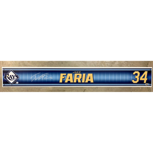 Photo of Rays Baseball Foundation: Team Issued Autographed Locker Tag - Jake Faria