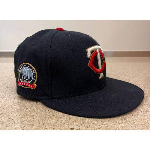 Photo of Minnesota Twins 2020 Team-Issued Home Navy Cap with Gold Outline - Choose Your Number and Size!