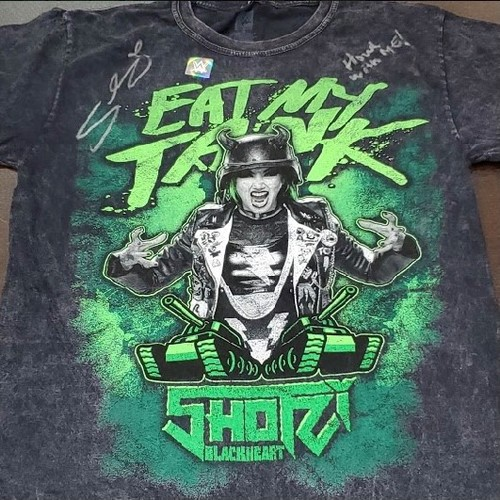 """Photo of Shotzi Blackheart SIGNED """"Eat My Tank"""" Mineral Wash T-Shirt (Howl With Me!)"""