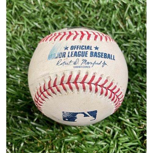 Photo of Game Used Baseball: Rhys Hoskins single and J.T. Realmuto foul ball off Collin McHugh - Top 1 - May 30, 2021 v PHI
