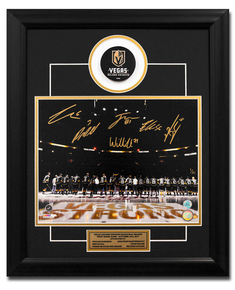 Golden Knights Vegas Strong 1st Home Game 6 Player Signed 23x19 Puck Frame #/31 *Marchessault, Karlsson, Haula, Miller, McNabb & Bellemare*