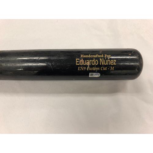 Photo of Eduardo Nunez June 15, 2018 Game Used Cracked Bat