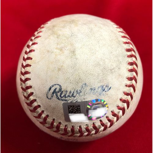 Photo of Ronald Acuna Jr. MLB Debut -- Game Ready -- 04/25/2018 -- ATL vs. CIN -- Ronald Acuna Jr. MLB Debut Game -- Warm Up Ball used by Left Field Ball Boy and Ronald Acuna Jr. during the 5th Inning of his MLB Debut