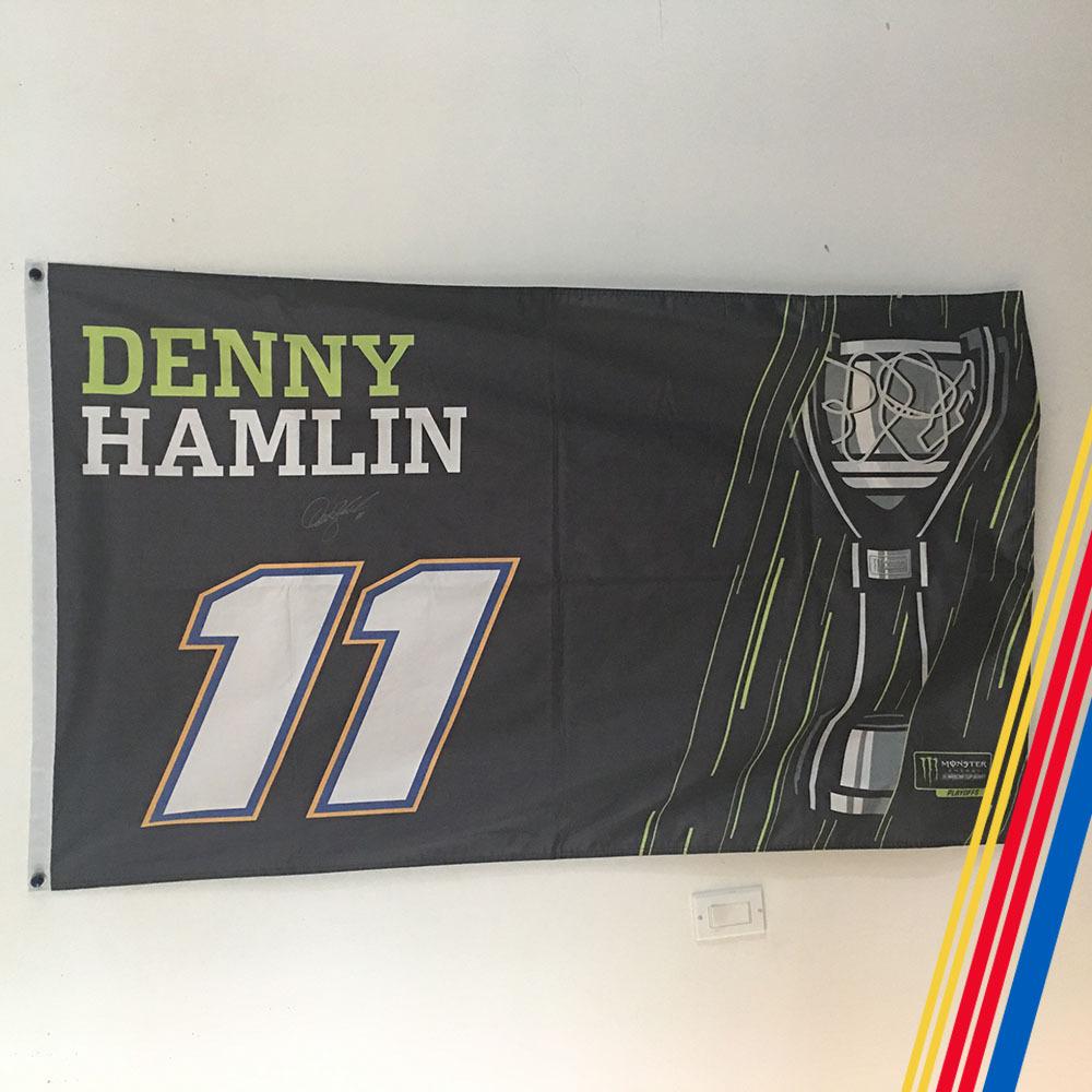 NASCAR'S Denny Hamlin Autographed MENCS Playoff flag!