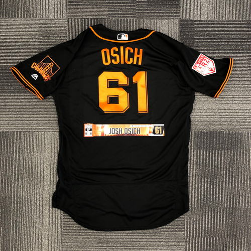 Photo of San Francisco Giants - 2019 Team Issued Spring Training Jersey and Locker Name Plate - #61 Josh Osich - size 48