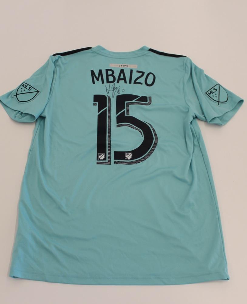 Olivier Mbaizo Philadelphia Union Used, Signed 2019 Adidas Parley Jersey