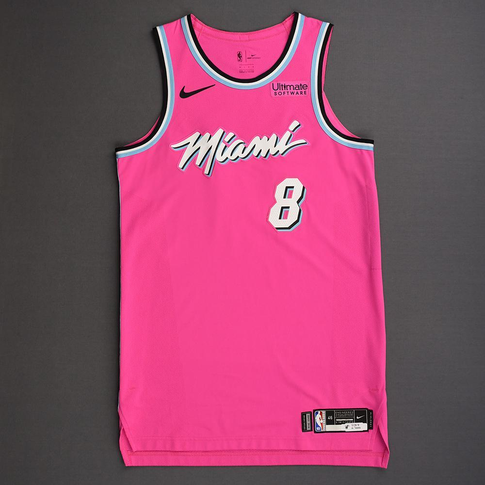 half off 3d643 77730 Tyler Johnson - Miami Heat - 2018-19 Season - Game-Worn Pink ...