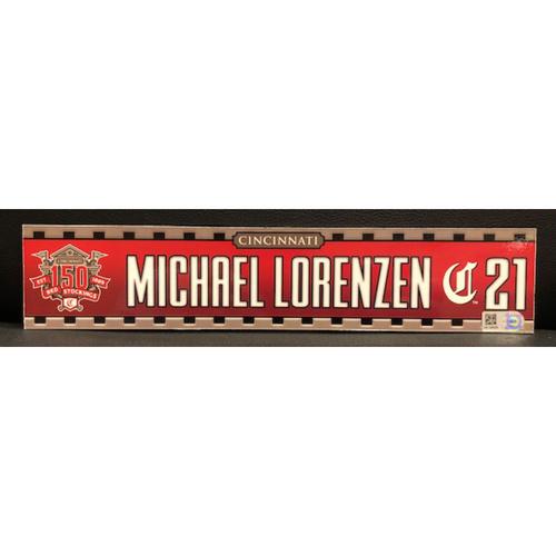 Photo of Michael Lorenzen -- Game-Used 2019 Regular Season Locker Tag
