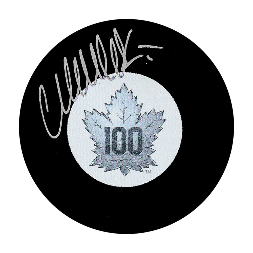 Wendel Clark Autographed Toronto Maple Leafs 100th Anniversary Puck