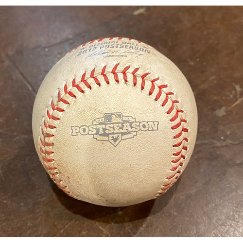 Photo of 2012 NLDS Game 1 Game Used Baseball used on 10/6/12 vs. CIN - B-9: Aroldis Chapman to Xavier Nady - Wild Pitch