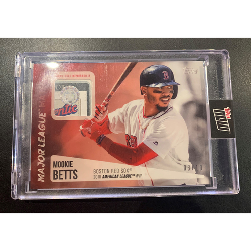 Photo of Mookie Betts Topps Now Major League Material Game Used Jersey Card #3/10