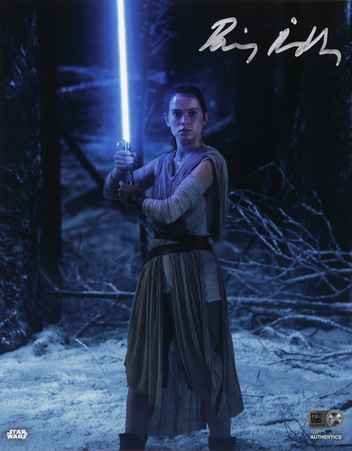 Daisy Ridley as Rey Autographed In Silver Ink 8x10 Photo
