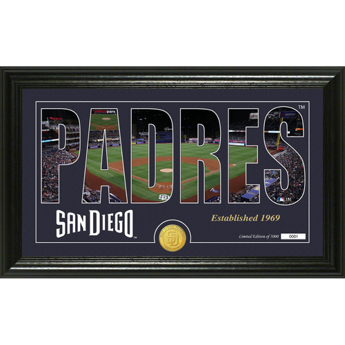 "Photo of Serial #1! San Diego Padres ""Silhouette"" Panoramic Bronze Coin Photo Mint"