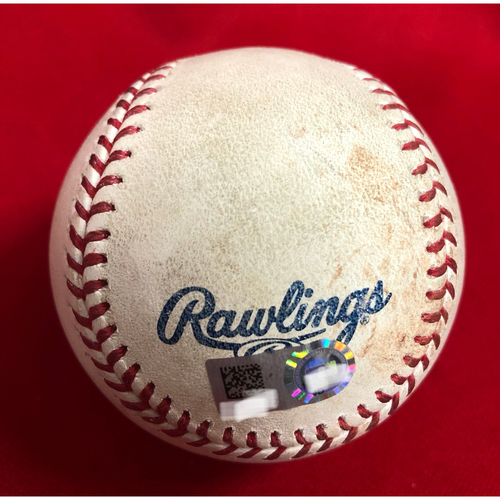 Photo of Tucker Barnhart Triple Baseball -- Game Used -- 08/14/2018 -- CLE vs. CIN -- 7th Inning -- Kluber to Gennett (Fly Out); to Barnhart (3B); Barnhart's 2nd Triple of 2018