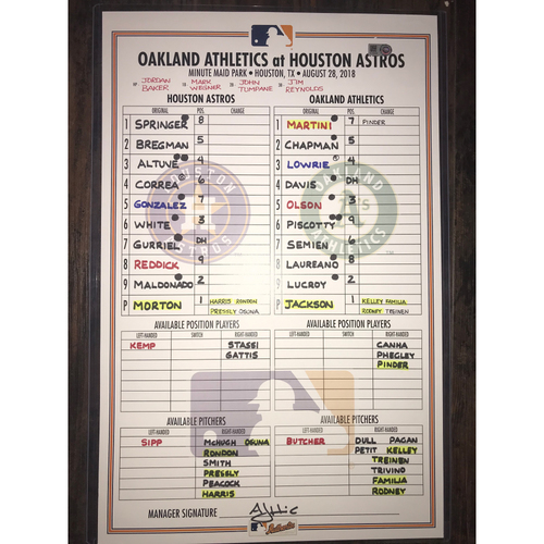 Photo of Astros vs. Athletics Game-Used Lineup Card: August 28, 2018