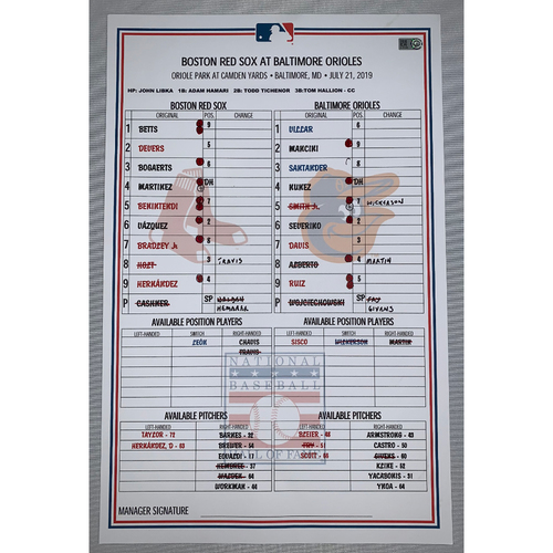 Photo of Boston Red Sox at Baltimore Orioles July 21, 2019 Game Used Lineup Card - Orioles Win 5 to 0