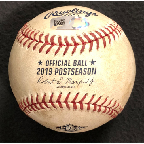 Photo of NLDS Game 1 Game Used Baseball: Pitcher- Walker Buehler, Batter- Adam Eaton. Groundout to Max Muncy. 10/3/19 vs. WSH