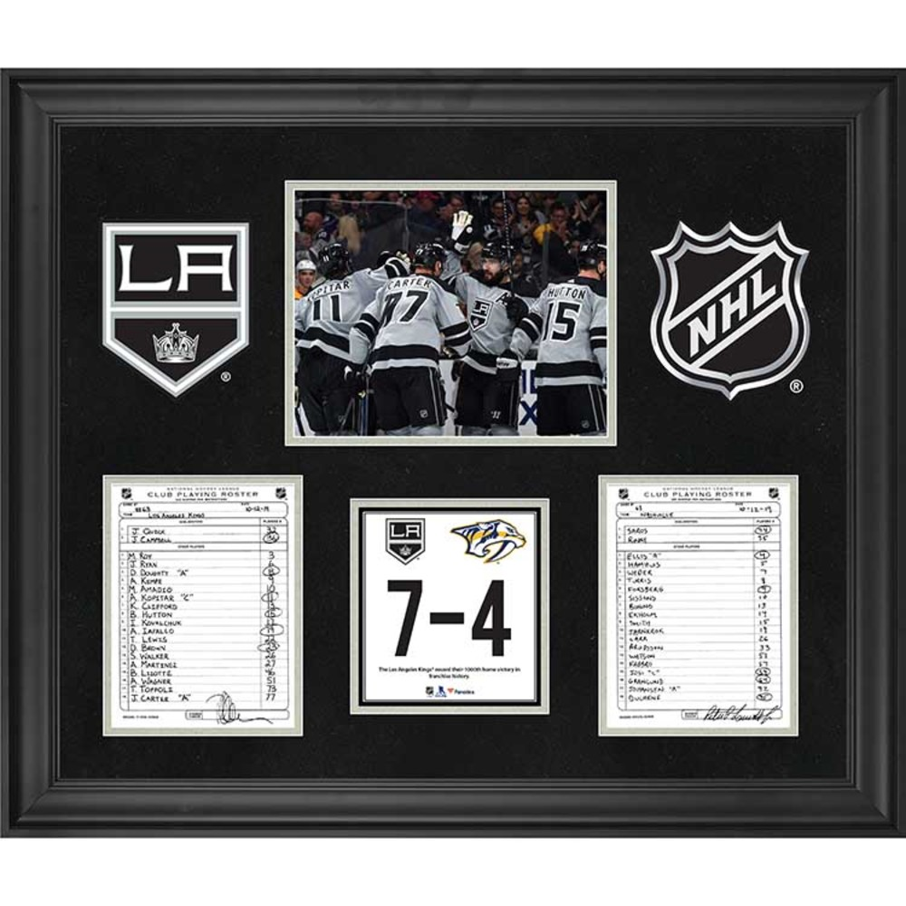 Los Angeles Kings Framed Original Line-Up Cards from October 12, 2019 vs. Nashville Predators - Kings Record 1,000th Home Victory in Franchise History