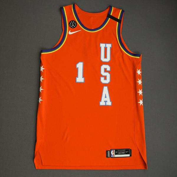 Image of Zion Williamson - 2020 NBA Rising Stars - Team USA - Game-Worn 1st Half Jersey