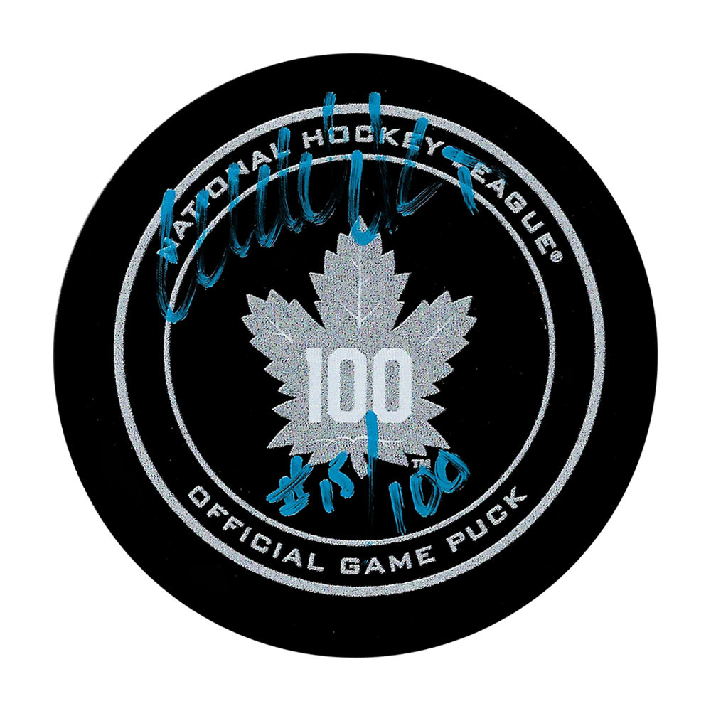 Wendel Clark Autographed Toronto Maple Leafs 100th Anniversary Official Game Puck w/#15/100 Inscription