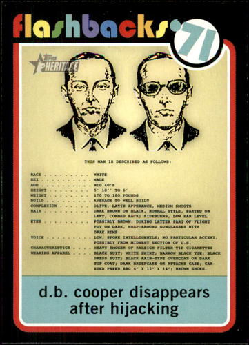 Photo of 2020 Topps Heritage News Flashbacks #NF14 The Mystery of D.B. Cooper