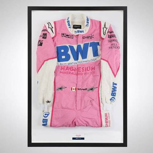 Photo of Lance Stroll 2020 Framed Signed Race-worn Race Suit