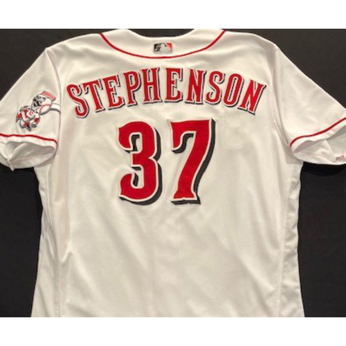 Photo of Tyler Stephenson - 2020 Home White Jersey - Game-Used - Size 48 - Worn for Major League Debut, First Career Hit & First Career Home Run (7/27/20)