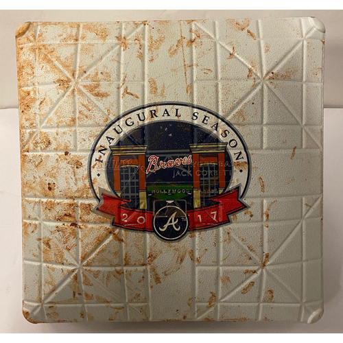Photo of 2017 SunTrust Park (Now Truist Park) Inaugural Season Game Used Base - 1st Base Used 1st Inning - April 14, 2017 - First Hit at SunTrust Park During this Inning - vs. SDP