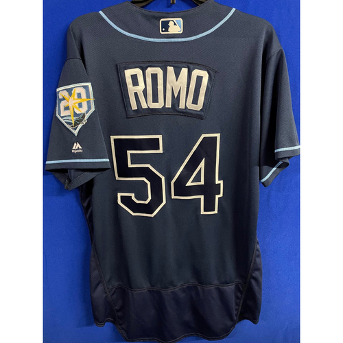 Photo of Game Used Navy Jersey: Sergio Romo (S, 1 IP, 3 SO) - September 29, 2018 v TOR