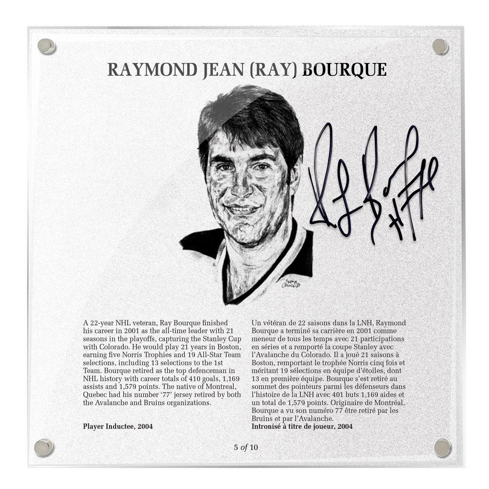 Ray Bourque Autographed Legends Line Honoured Member Plaque - Limited Edition 3/10