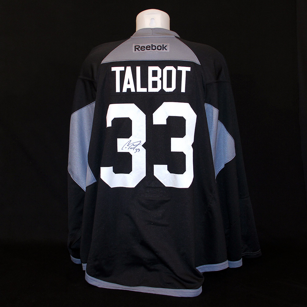 1860e1ce0 Cam Talbot  33 - Autographed 2015-16 Edmonton Oilers Training Camp Worn  Black RBK Name And Numbered Practice Jersey