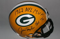 HOF - PACKERS JIM TAYLOR SIGNED PACKERS PROLINE HELMET W/ 1962 MVP AND HOF INSCRIPTION