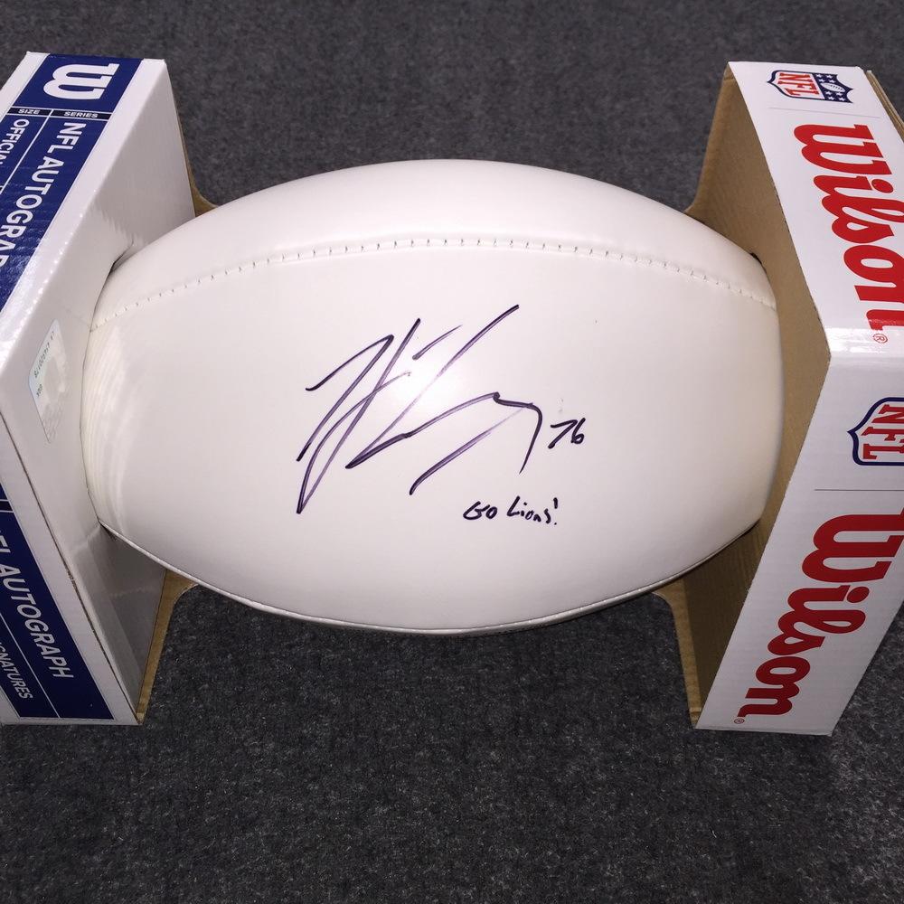 NFL - Lions T.J. Lang signed panel ball
