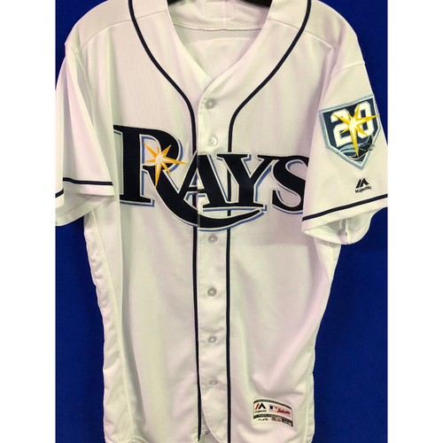 Photo of 20th Anniversary Game Used Home White Jersey: Tommy Pham - Rays Debut - August 1, 2018 v LAA