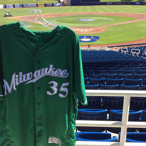 Photo of Brent Suter 2018 Team-Issued St. Patrick's Day Jersey