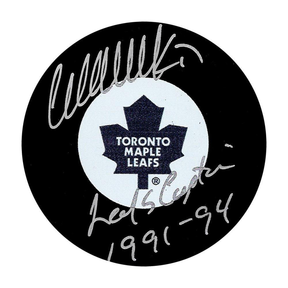 Wendel Clark Autographed Toronto Maple Leafs Puck w/LEAFS CAPTAIN 1991-94 Inscription