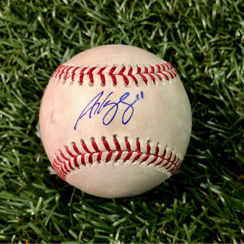 Photo of Game Used Autographed Baseball: Andrew Velazquez MLB Debut - September 2, 2018 at CLE