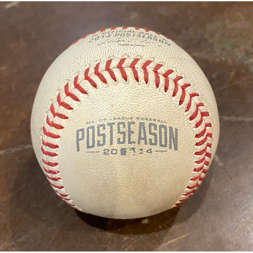 Photo of 2014 NLCS Game 4 Game Used Baseball used on 10/15/14 vs. STL - T-8: Sergio Romo to Jhonny Peralta - Foul Ball