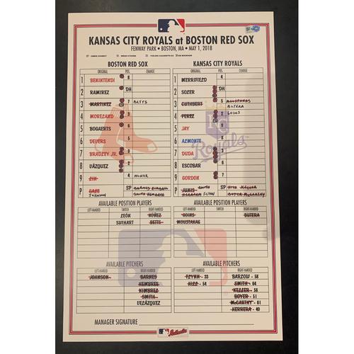 Photo of Kansas City Royals at Boston Red Sox May 1, 2018 Game Used Lineup Card