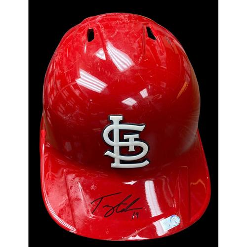Tommy Edman Autographed Team Issued Batting Helmet (Size 7 3/8)