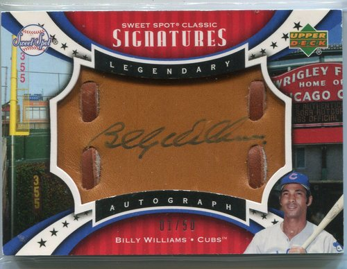 Photo of 2007 Sweet Spot Classic Signatures Gold Stitch Blue Ink Billy Williams 1/50 -- Hall of Famer