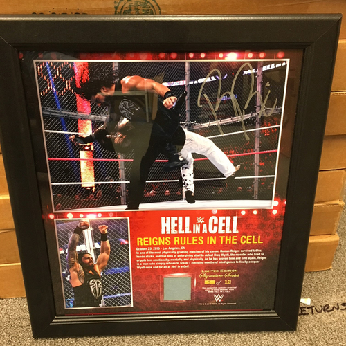 Photo of Roman Reigns SIGNED Hell in a Cell 2015 Ring Canvas Plaque