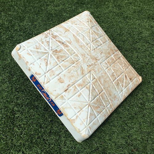 Photo of Game Used Base - 1st Base, Innings 4-6 - Mets Win 9th Game in a Row for Franchise Best Start at 11-1 - Mets vs. Brewers - 4/13/18