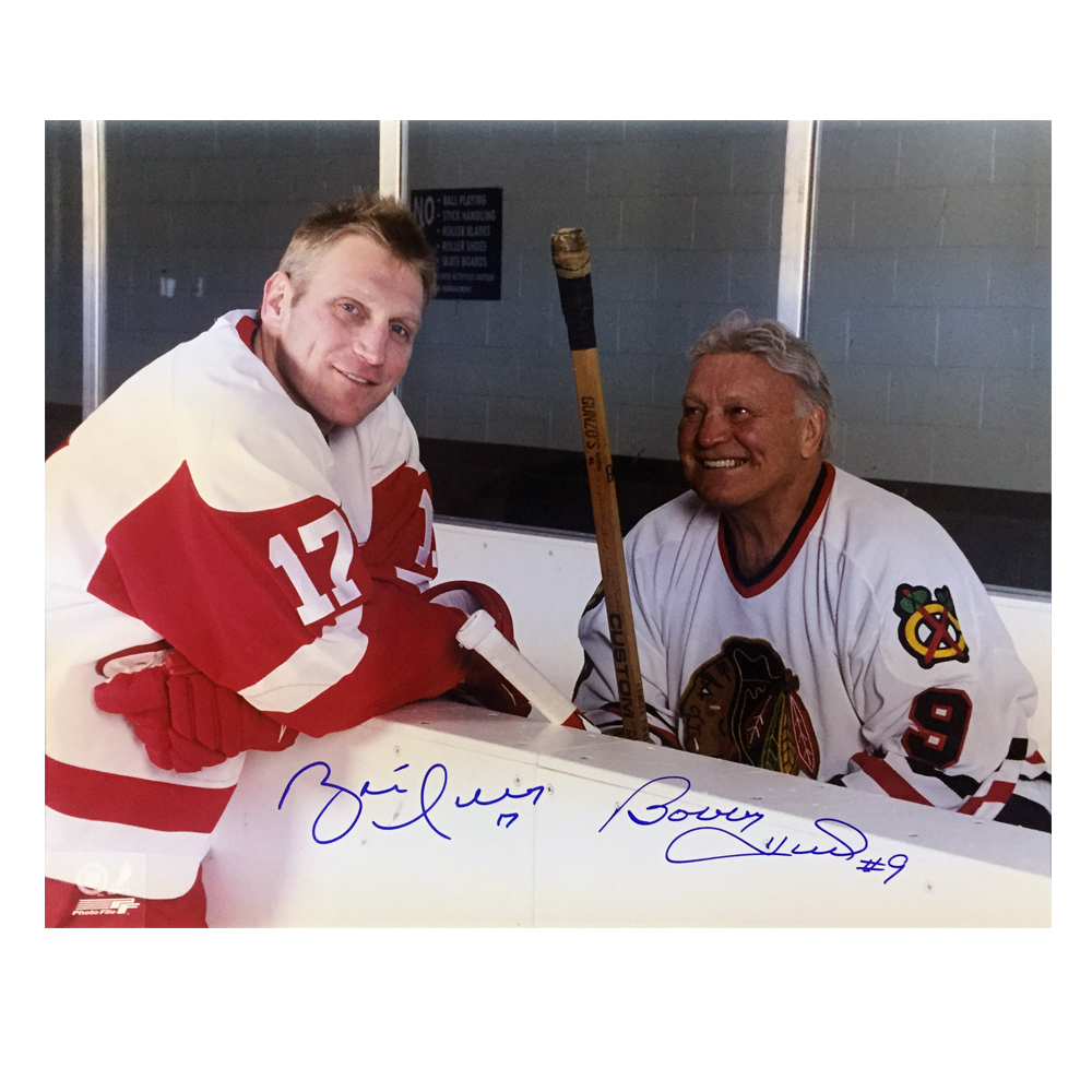 BRETT & BOBBY HULL Signed 16 X 20 Photo - 79096