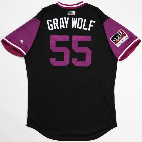 "Photo of Jon ""Gray Wolf "" Gray Colorado Rockies Game-Used 2018 Players' Weekend Jersey"