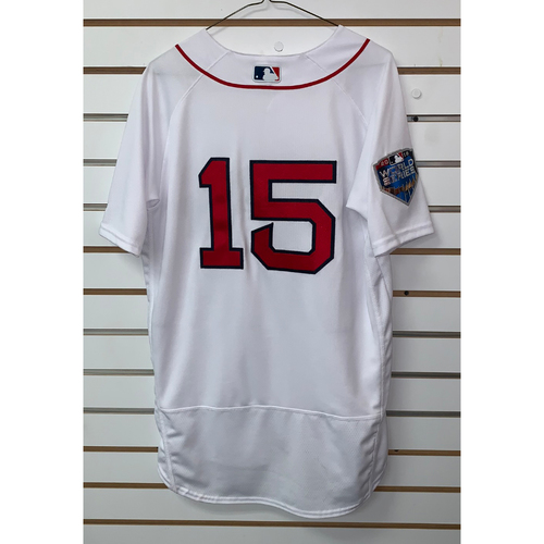 Photo of Dustin Pedroia Team Issued 2018 World Series Home  Jersey