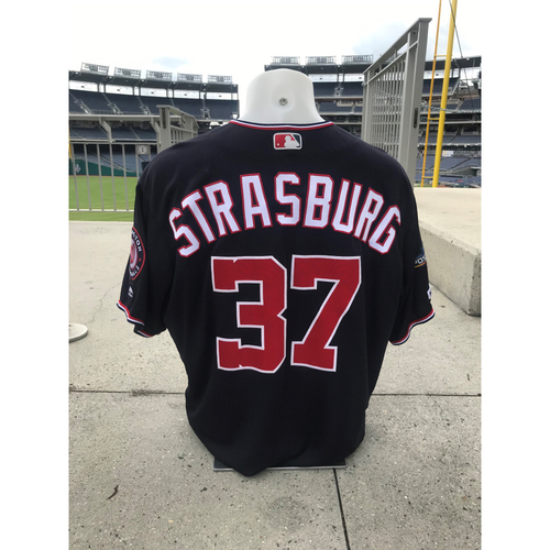 Photo of Game-Used Stephen Strasburg Jersey - Worn for his 100th Win