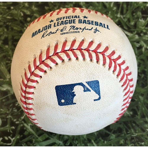 Photo of Game-Used Baseball CHC@MIL 09/05/19 - Derek Holland - Christian Yelich: Forceout (INCLUDES FREE SHIPPING)
